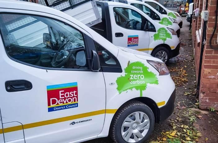 East Devon District Council's new fleet of electrical vehicles. Picture: EDDC
