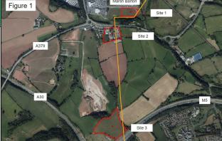 Exeter The three sites where the new substation could go. Image: Devon County Council