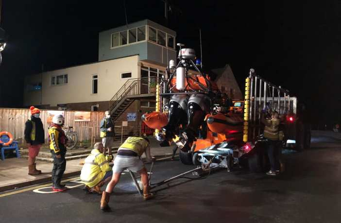 Sidmouth Lifeboat was launched late at night. Image: Photo Credit: Cameron Baker