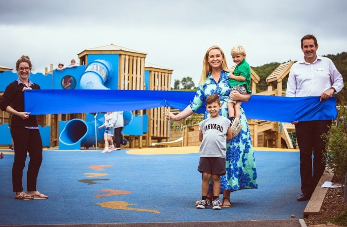 It's a snip: This Morning presenter and Big Brother winner Josie Gibson, with her son and godson, cuts the ribbon on the new play area at Ladram Bay Holiday Park assisted by marketing manager Carla Newman and assistant general manager Will Tottle. Image: contributed