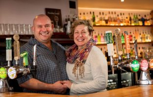 Mike and Jacqui Down at the Volunteer Inn in Ottery St Mary. Image: Andrew Butler
