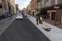 An artist's impression of how Queen Street in Exeter could look if the one-way scheme os made permanent. Image: Devon County Council