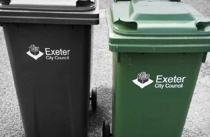 General waste and recycling bins in Exeter