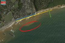 A general outline for the new Sidmouth sea defence plans - Dark blue line: splash wall to be raised along the majority of The Esplanade by approximately 10cm. Light blue line: This section will still have to be raised to about one metre. Yellow line: This is where the beach will be replenished with new shingle. Red circle: General locations of where the offshore island(s) can go. Green line: Where a rock groyne will be located. Image: EDDC