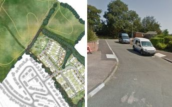 Exeter Left, From the planning application - a revised indicative masterplan showing New Valley Park. Right, One of the proposed routes into the mooted new development in Celia Crescent. Image: Google Maps