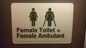 Sign text: Female Toilet + Female Ambulant