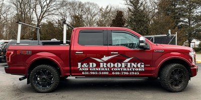 J&D roofing truck lettering