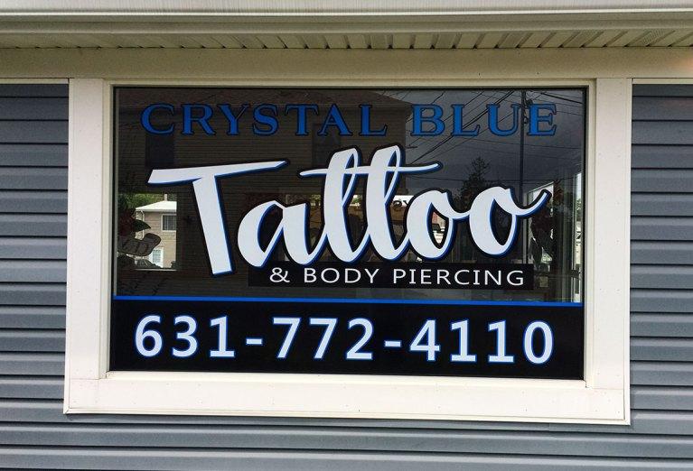crystal blue tattoo window lettering