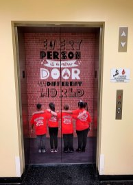 school elevator door wrap
