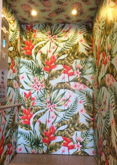 tropical elevator wall wrap