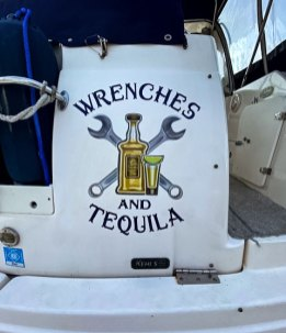 wrenches and tequila wrapped boat
