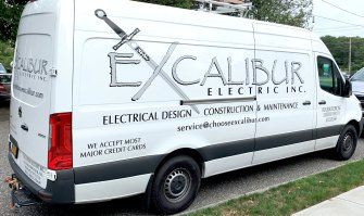 Excalibur Electric vehicle lettering