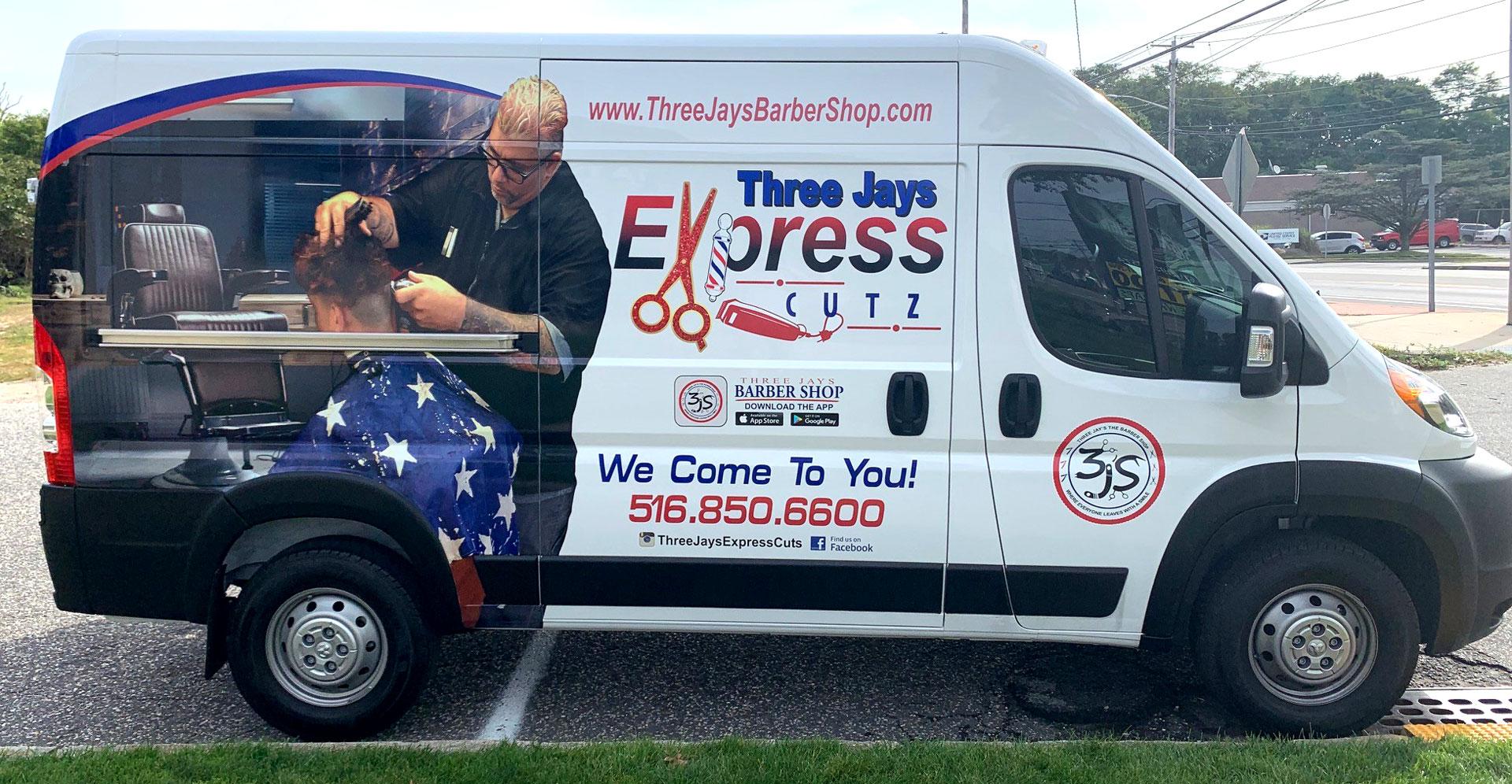 Three Jays Express Cutz vehicle lettering
