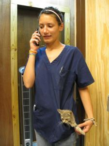 Bailey with a kitten in her pocket