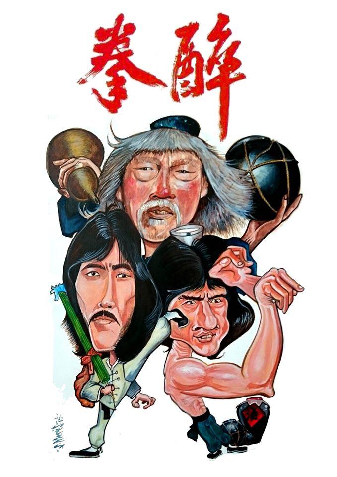 Drunken Master Hand Painted Cartoon signed By Artist Steve Morris - Eastern Heroes
