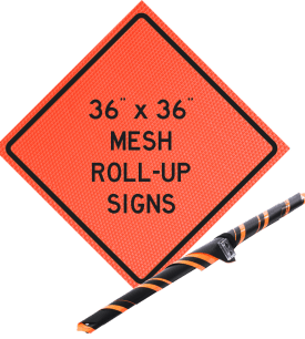 mesh roll up, sign, orange mesh