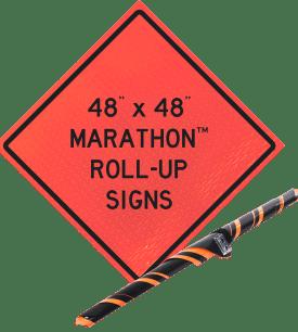 roll up orange vinyl sign