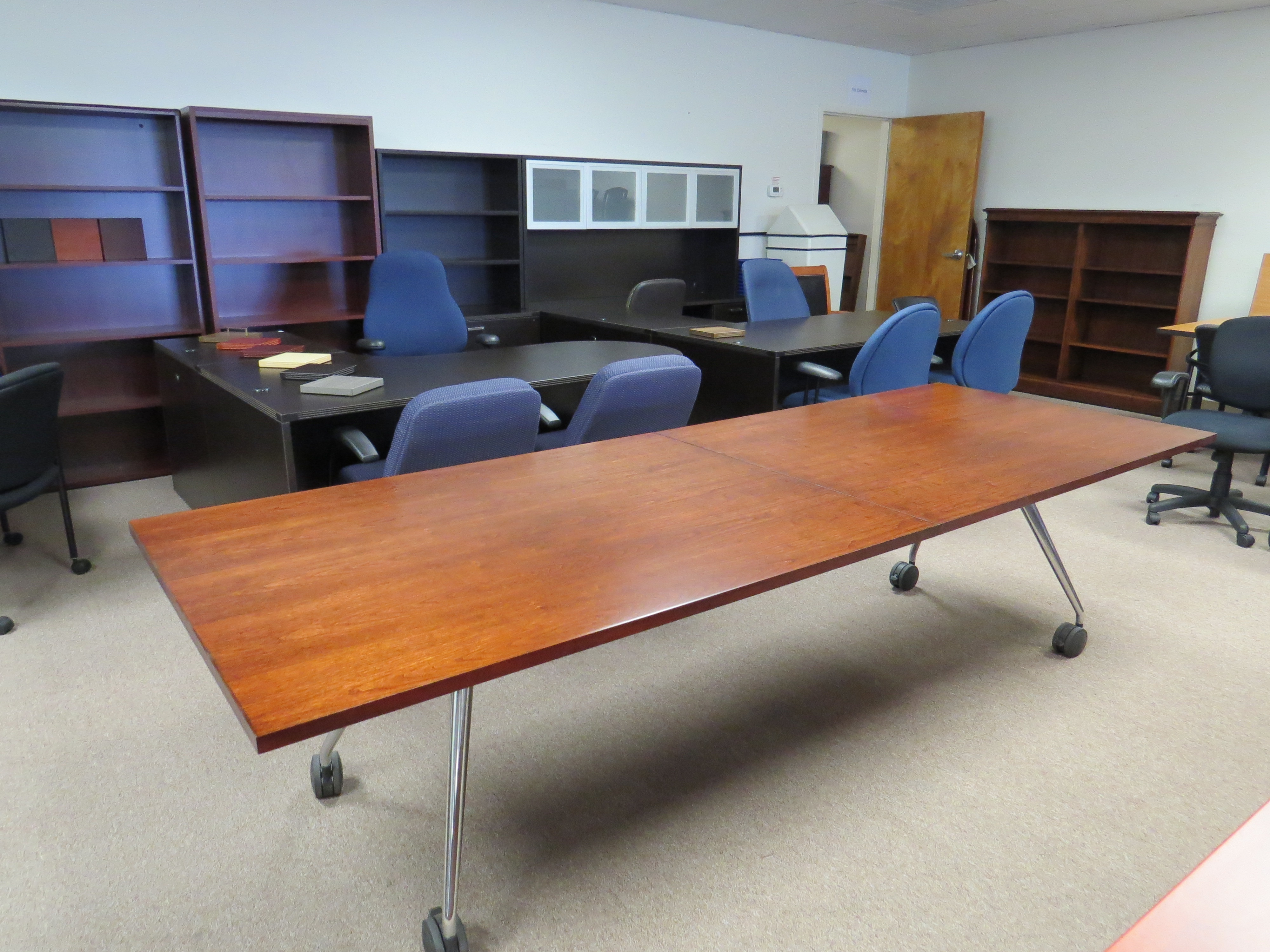 Folding Conference Table By Kimball Office Refinished Eastern