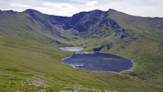 Lough Coomloughra and Lough Eagher surrounded by the ring of mountains that make up the Coomloughra Horseshoe