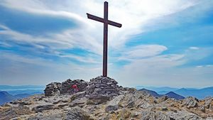 Steel cross on the summit of Carrauntoohil.