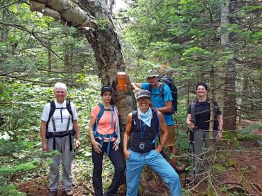 Catskill Hikes: Eastern Outdoor Experiences group at the Balsam Cap summit.
