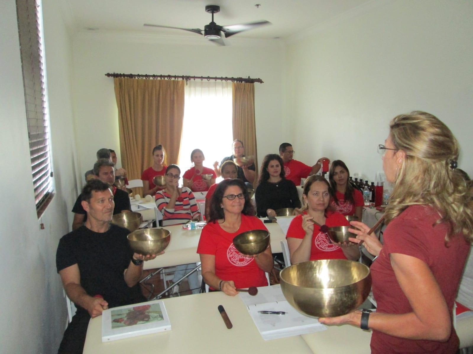 With Tibetan Singing Bowls