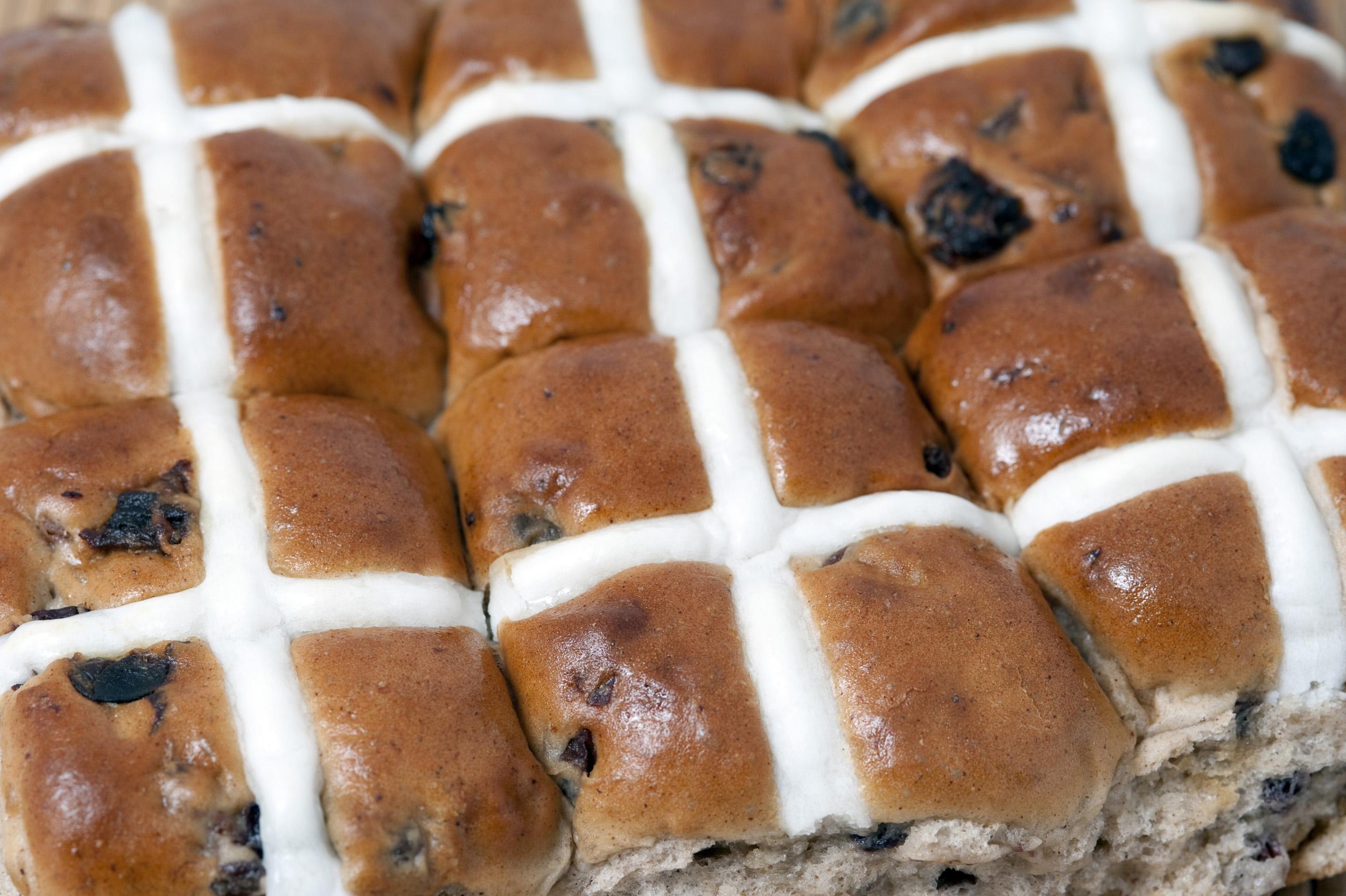 Batch of fresh Hot Cross Buns Creative Commons Stock Image