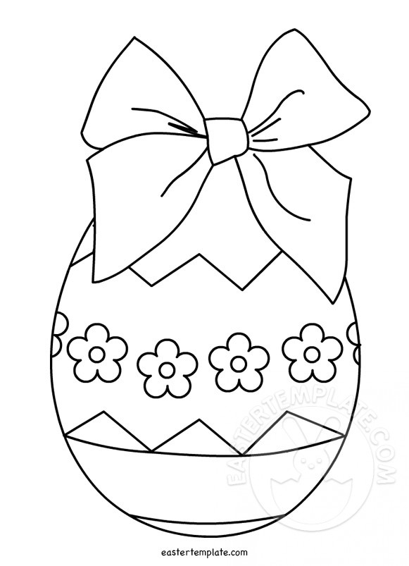 Easter Egg Bow Coloring Page Easter Template