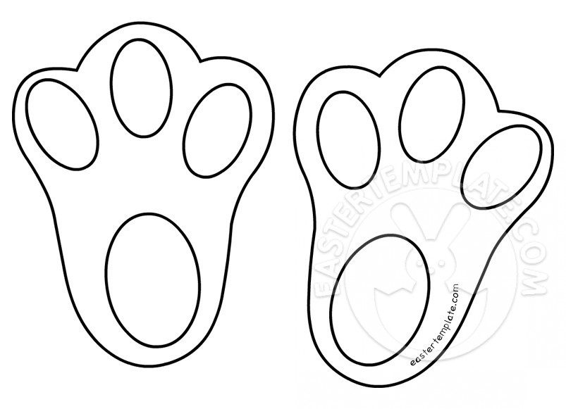 Template for easter bunny feet