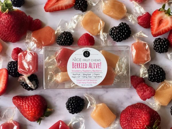 Berried Alive hemp CBD fruit chews spotlight strawberry, raspberry, and blackberry. Made with real berries, and only organic ingredients.