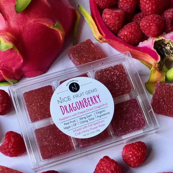 Dragonberry hemp CBD fruit gems include raspberry with freeze-dried dragonfruit. 20mg CBD per Gem, 120mg CBD total. Vegan and Gluten Free.