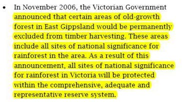 From the Flora and Fauna Guarantee Action Statement for Rainforests