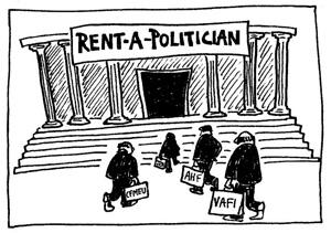 Rent a politician cartoon