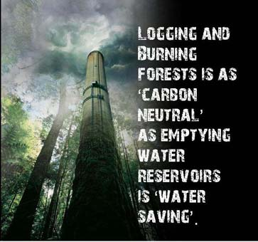 Logging and burning a forest is as 'carbon neutral' as emptying a water reservoir is 'water-saving'.