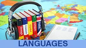 Language books wearing earphones