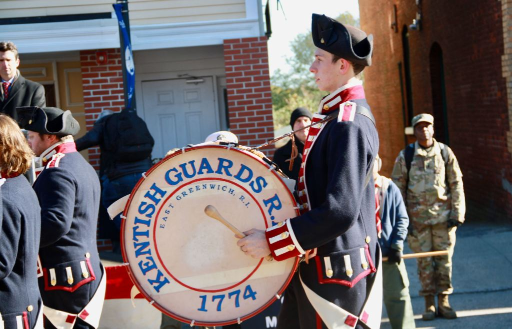 A drummer in the Kentish Guard Fife and Drum Corps during the 2017 Veterans Day Parade.