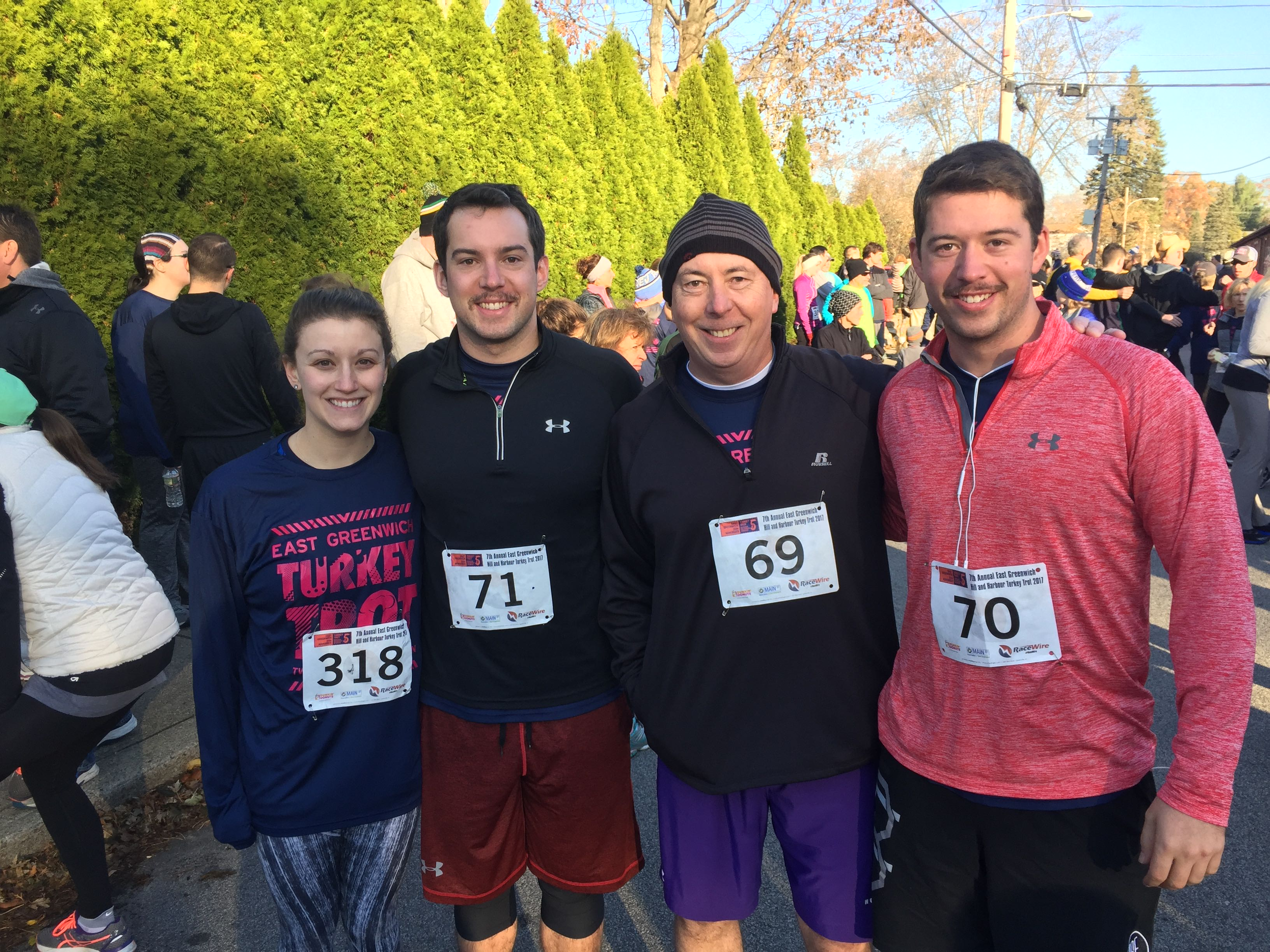 Jaclyn Vignati, Ted Cullinane, Paul Cullinane and Scott Cullinane before the race.
