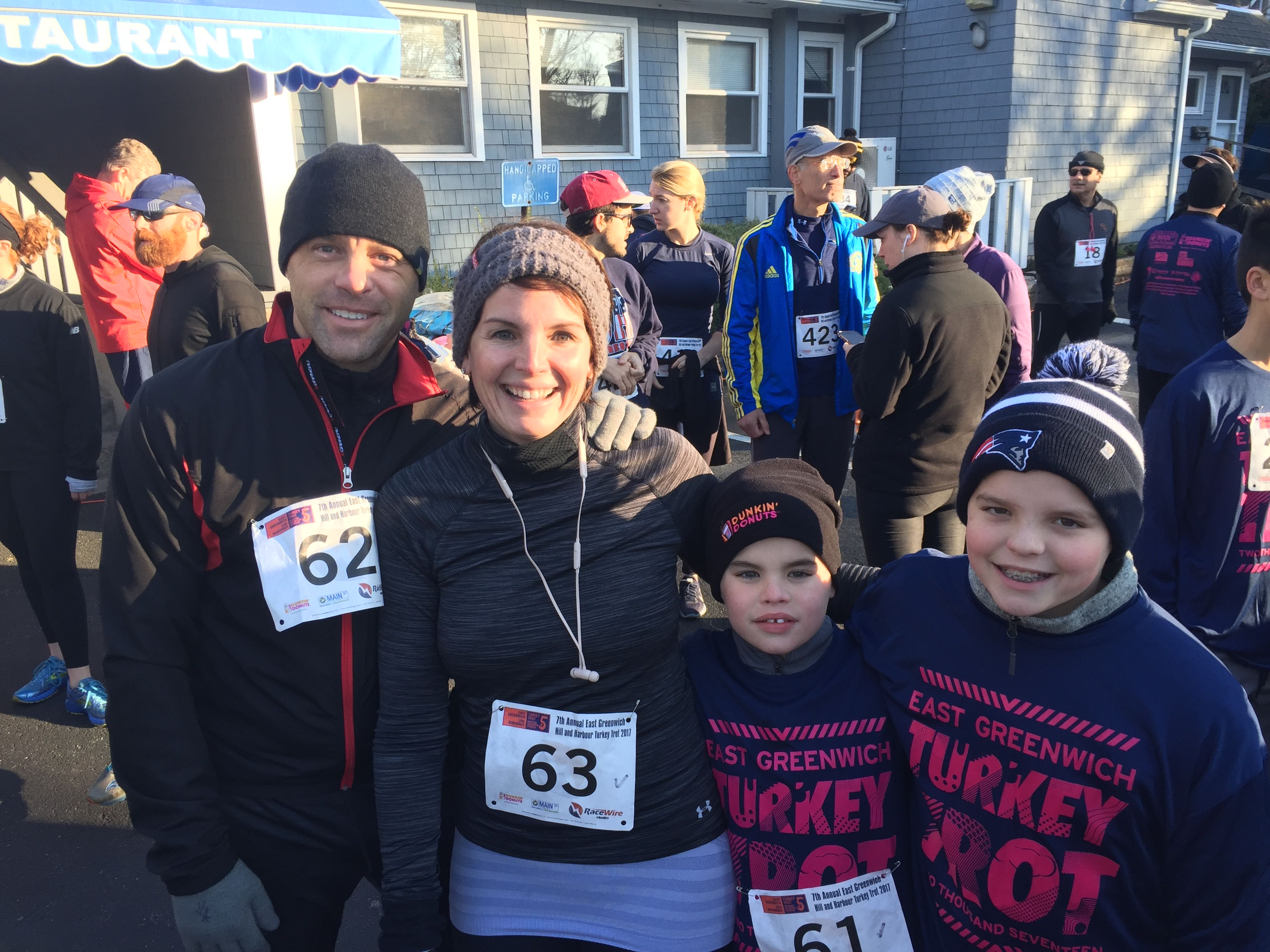 The Collier family of East Greenwich, pre-race, from left, Dave, Stacie, Declan and Sam.