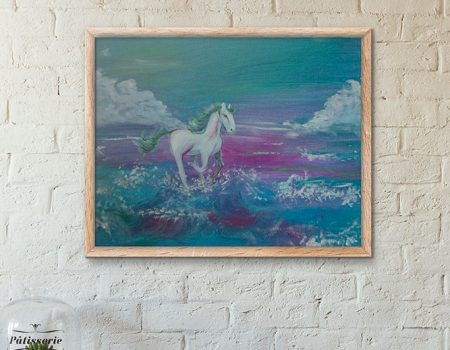 Horse painting on the beach by Cassondra Eastham