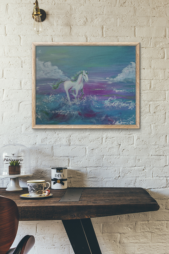 Horse running on the beach painting by Cassondra Eastham