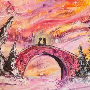 lovers on a bridge painting by cassondra eastham