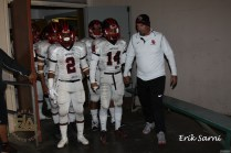 """Head Coach Jose Casagran, always the motivator, leads his inspired Rams team on to the field. Coach Casagran led his """"Rams"""" to the D-2 Semifinal game."""