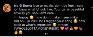 """""""I Know Your Girl, But I Don't Know You"""" – Bia Fires Back At Burna Boy"""