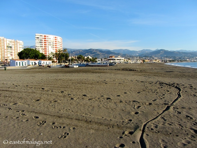 Looking east towards the Sailing club in Torre del Mar from the concrete beach path