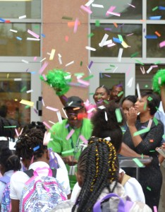 Students enter excel academy martin luther king jr ave se under confetti and with applause from mayor muriel bowser interim dcps chancellor also kicks off school year at east of the river rh eastoftheriverdcnews