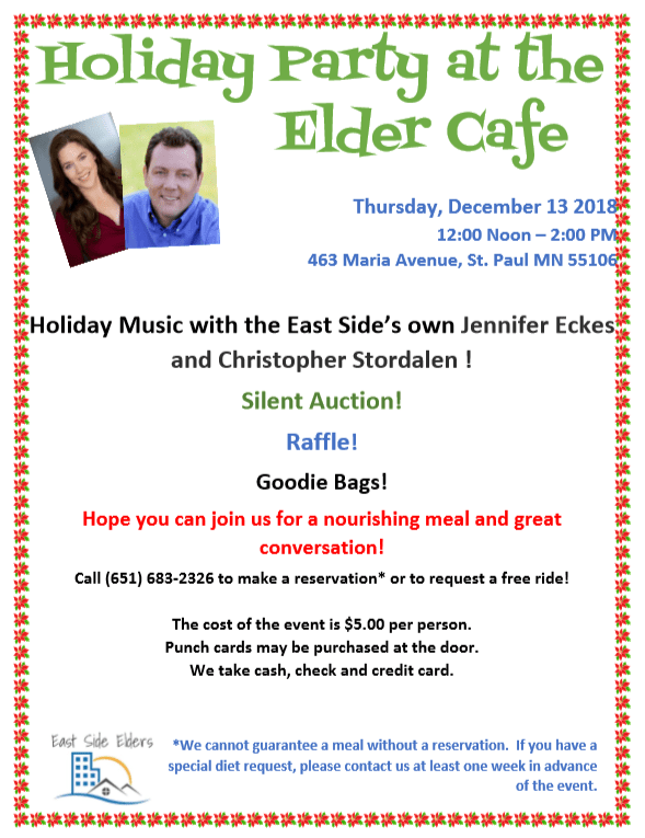 Flier for the Holiday Elder Cafe - pictures of a man and woman who will be performing at the event