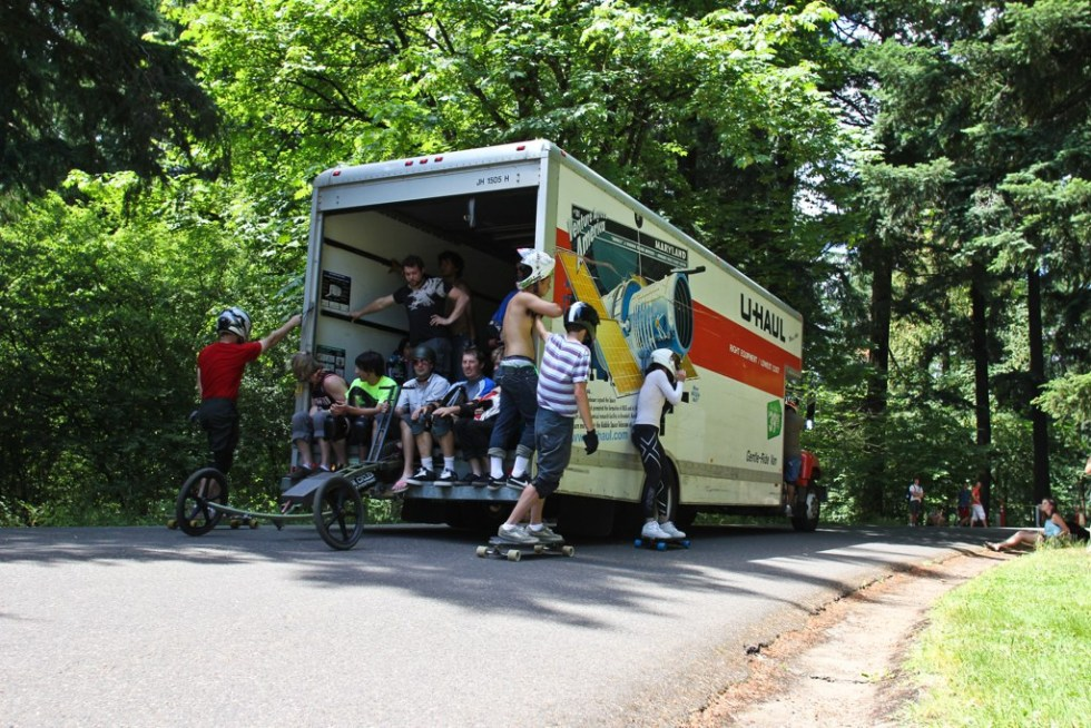 Riders getting shuttled in the uhaul back to the top. Photo by Spencer Morgan.