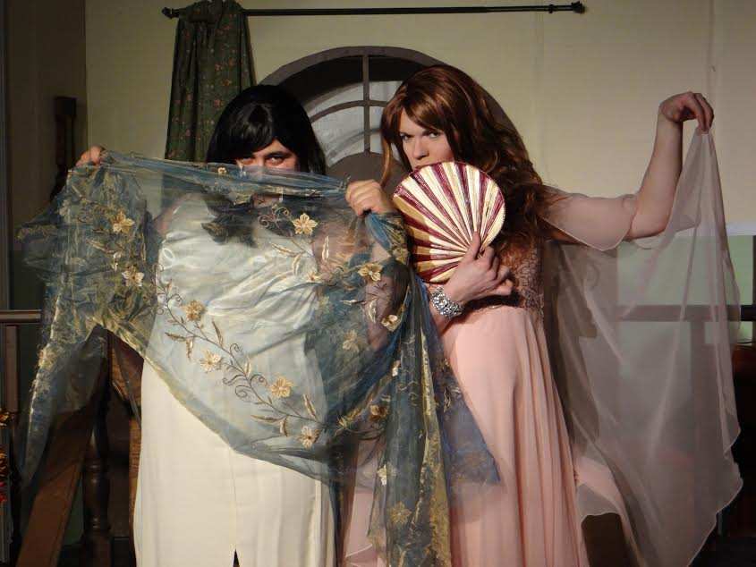 """Jonathan Marin as Leo and ETSU student Shawn Landreth as Jack disguise themselves as women in an attempt to inherit millions in """"Leading Ladies."""" (Photograph by: Adam Honeycutt and Michelle Newcomb)"""