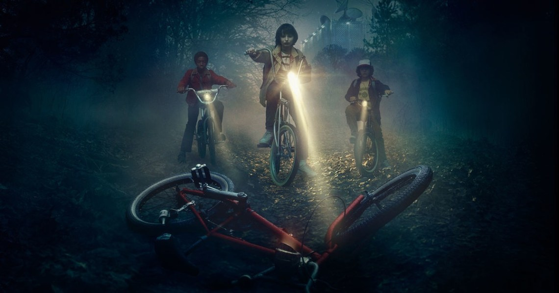 "Lucas, Mike and Dustin search for their missing friend in ""Stranger Things."" (Contributed)"
