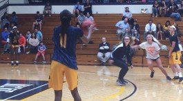 Volleyball players against ETSU women's basketball, entertaining the crown with 4 v. 3. (Contributed)